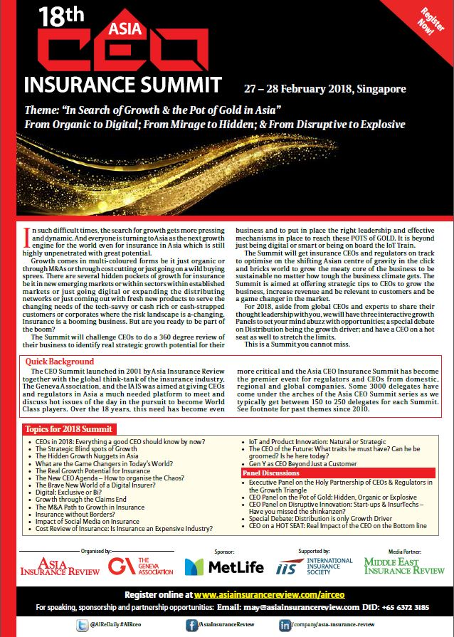 18th Asia CEO Insurance Summit Brochure